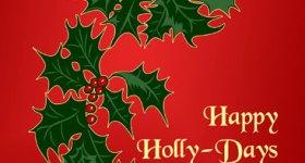 Happy Holly Days Christmas Postcard