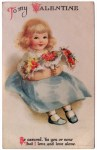 Little Girl with Flowers Ellen Clapsaddle Valentine's Day Postcard
