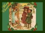 Victorian Christmas Children Vintage Postcard