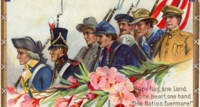 Vintage Postcard - Patriotic Soldiers of One American Nation