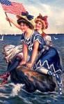 1900s Patriotic Bathing Beauties Vintage Postcard
