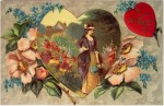 Victorian Woman in Heart with Flowers Valentine's Day Postcard