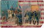 George Washington and Troops Patriotic Postcard