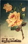 Vintage Yellow Roses Valentine's Day Postcard