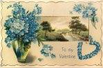 Vintage Forget-Me-Not Valentine Postcard
