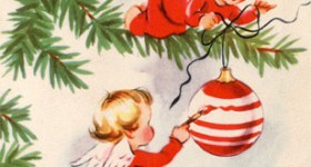 Angels Decorating Christmas Tree