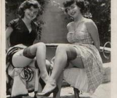 Sexy vintage ladies by the pool