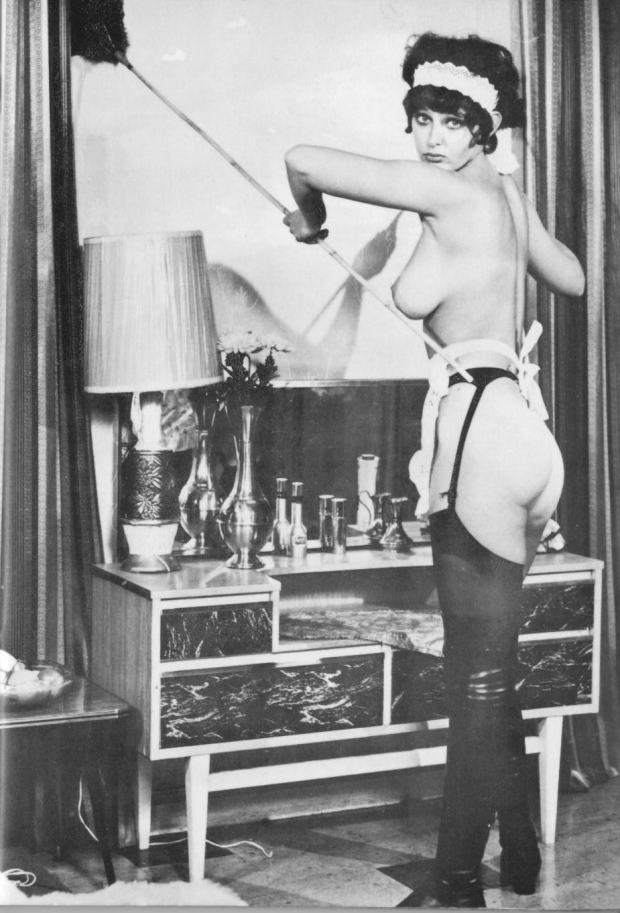 Vintage topless French Maid Model