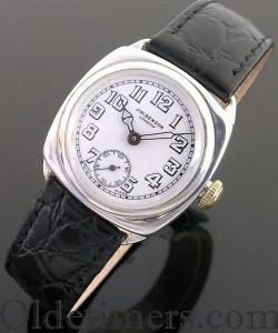 1930s cushion silver cushion vintage JW Benson waterproof watch (3203)