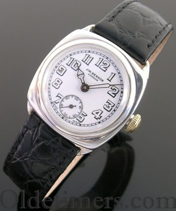 1930s cushion silver cushion vintage JW Benson waterproof watch (3203)