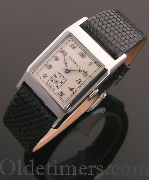 1930s 14 ct white gold rectangular vintage Hermes watch (3364)