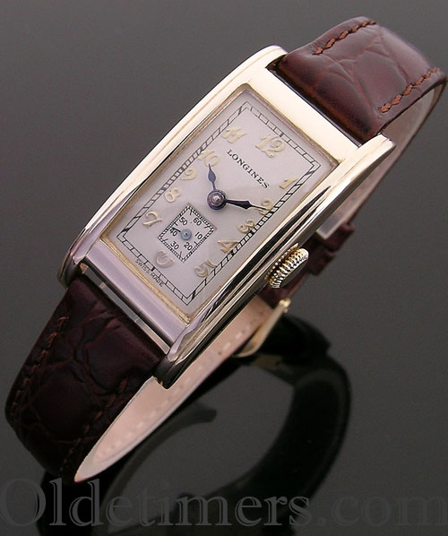 1940s 14ct gold rectangular vintage Longines watch (3726)