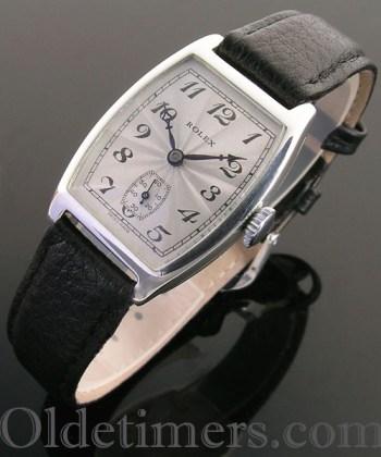 1920s silver tonneau vintage Rolex watch