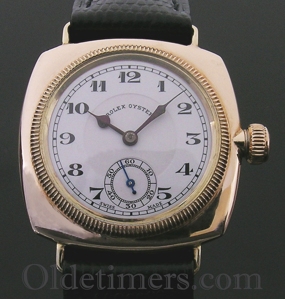 1920s 9ct gold cushion vintage rolex oyster watch olde timers for Oyster watches