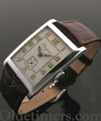 1930s rare large silver rectangular vintage Longines watch