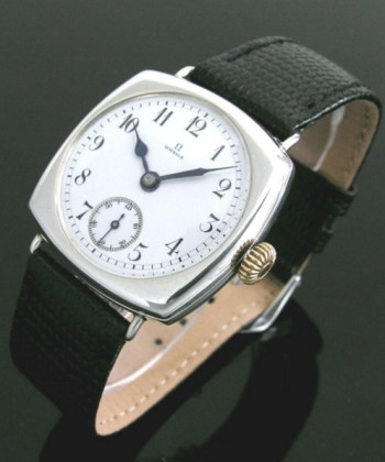 1914 early silver large cushion vintage Omega watch
