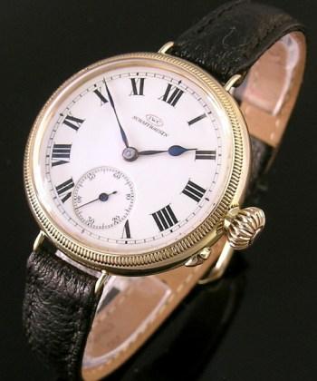 1914 18ct gold vintage I.W.C. (International Watch Company) wristwatch