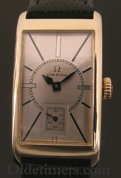 1930s 9ct gold rectangular vintage Omega watch