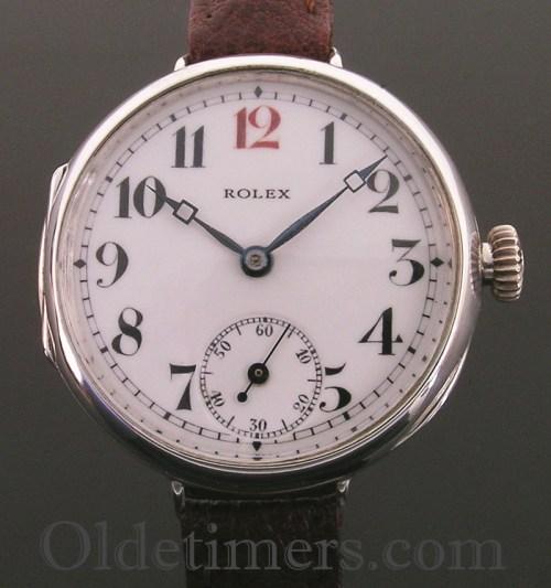 1916 silver round vintage Rolex 'Officers' watch