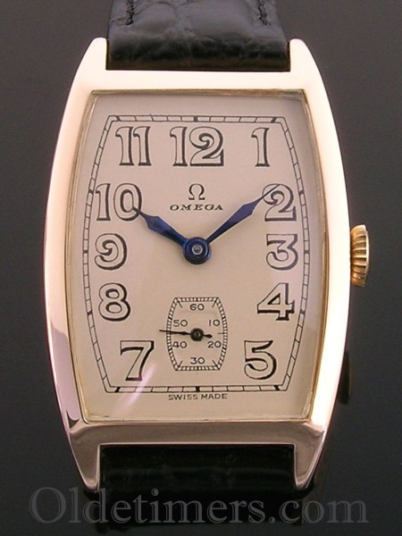 1920s 14ct rose gold tonneau vintage Omega watch