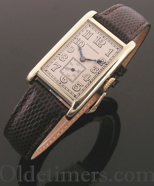 1920s 14ct gold rectangular vintage Longines watch (3897)