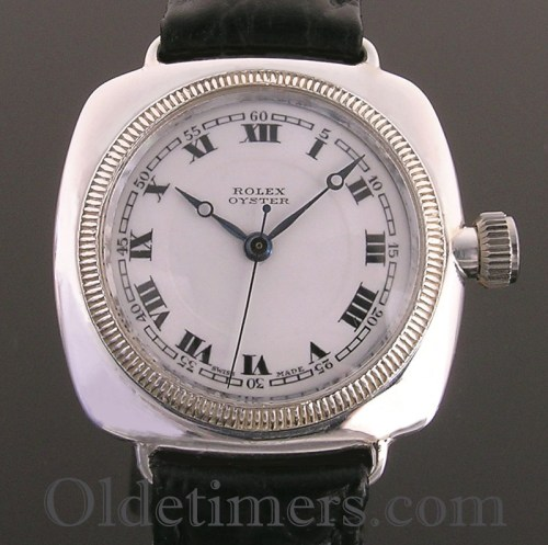 1920s silver cushion Vintage Rolex Oyster watch