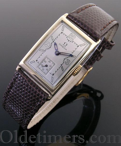 1930s 14ct gold rectangular vintage Omega watch