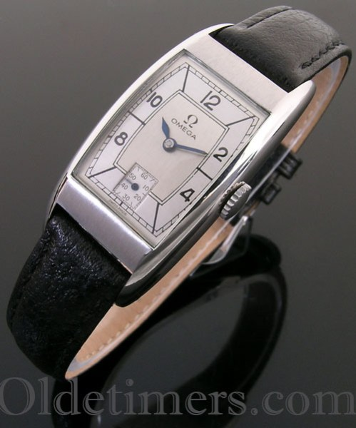 1940s steel tonneau vintage Omega watch