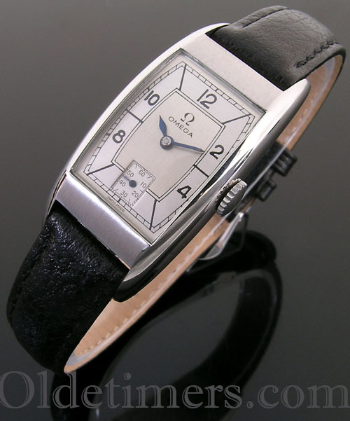 1940s steel tonneau vintage Omega watch (3944)