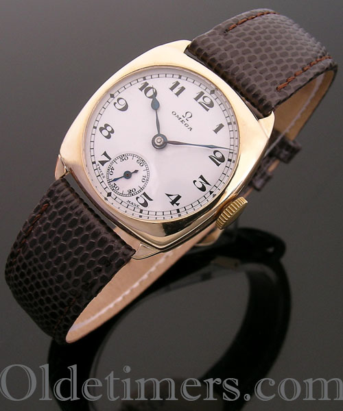 1930 18ct gold cushion vintage Omega watch