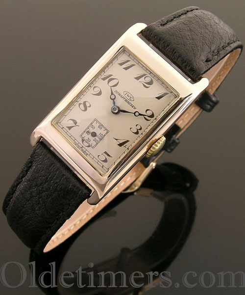 1930s 9ct gold rectangular vintage IWC watch