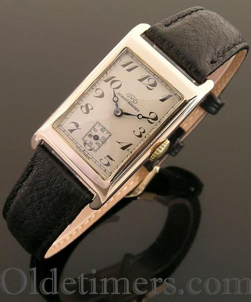 1930s 9ct gold rectangular vintage IWC watch