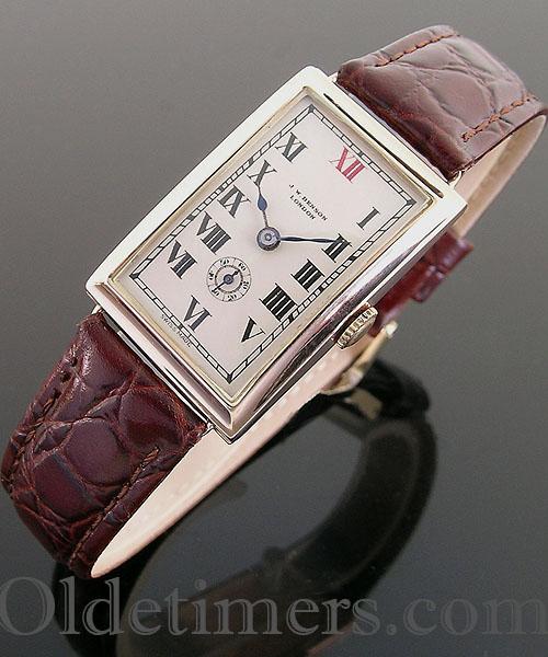 1930s 9ct gold rectangular vintage JW Benson watch