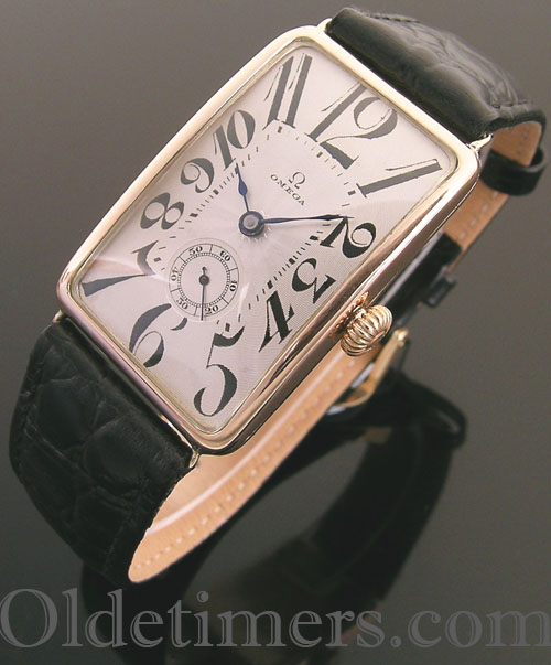 1920s 9ct rose gold rectangular vintage Omega watch (3890)