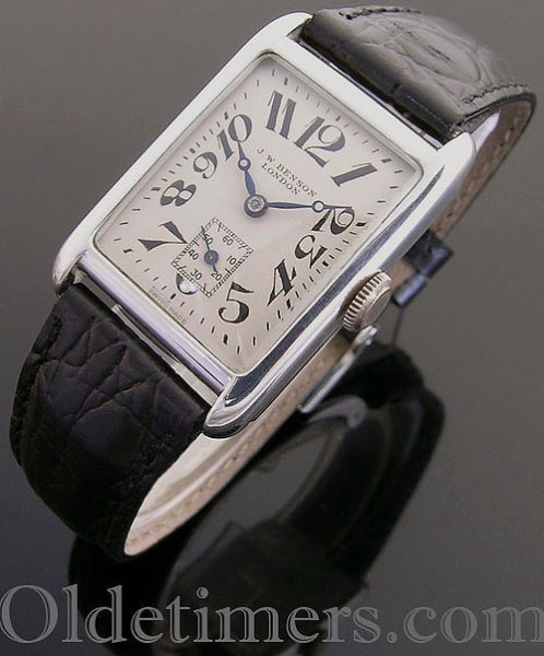 1930s silver rectangular vintage J W Benson watch