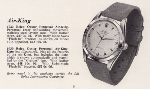 1960s steel vintage Rolex Air-King watch