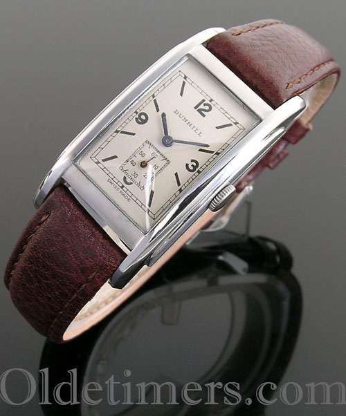 1930s rectangular steel vintage Dunhill watch (3926)