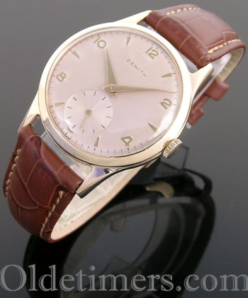 1960 9ct gold round vintage Zenith watch