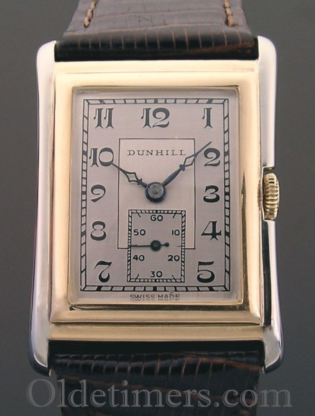 1920s 18ct gold rectangular vintage Dunhill watch