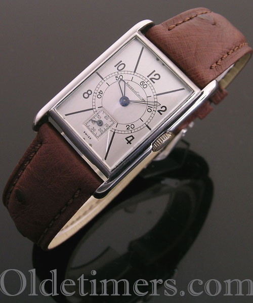 1930s rectangular steel vintage Jaeger LeCoultre watch (3845)