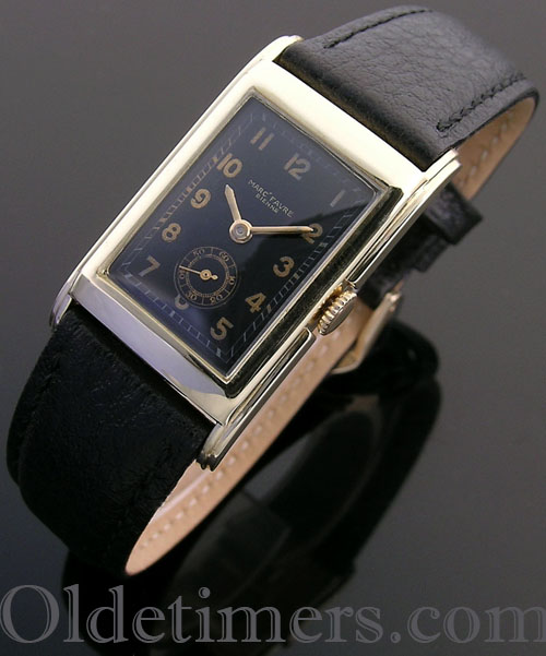 1930s 9ct gold rectangular vintage Marc Favre watch (4034)