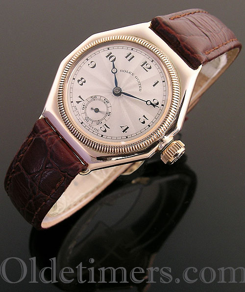 1920s 9ct rose gold octagonal vintage Rolex Oyster watch (4035)