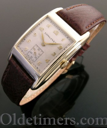 1940s 14ct gold rectangular vintage Longines watch