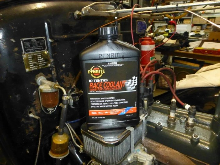 One of the important components of a cooling system is to ensure that the radiator water is treated to give the best performance. For the o2o OZ I am using Penrite products entirely. In particular I am using Penrite 10 Tenths RACE COOLANT. This is a coolant that lasts 3-5 years and reduces 'hot spots' especially in older cast iron engine blocks and heads and helps reduce small steam pockets that are sometimes caused by water having a high capillary attraction to odd spots in the engine. My experience is that Penrite 10 TENTHS RACE COOLANT prevents this from occurring resulting in more efficient cooling.