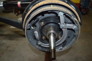 Brand new rebuilt brakes complete with backing plates from Snyders Antique Auto Parts USA were fitted to all four wheels