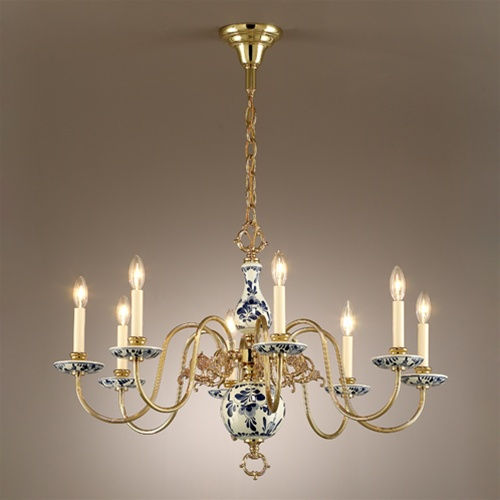 White And Blue Porcelain Chandelier