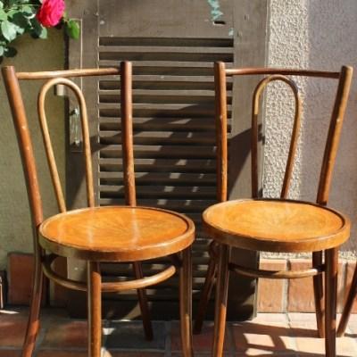 Chaises bistrot en bois courbet