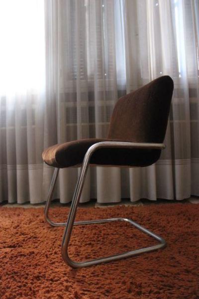 fauteuil de bureau vintage revêtement tissu d'ameublement marron