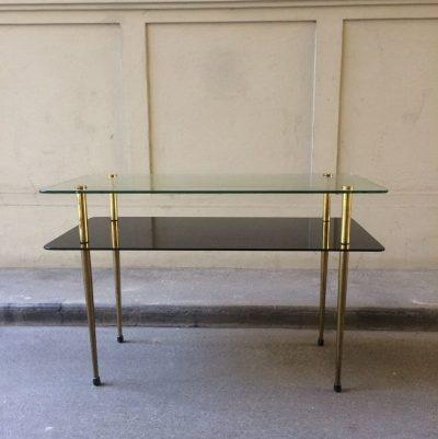 Table basse laiton et verre vintage