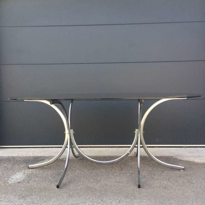 Table vintage verre fumé